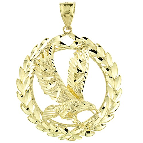 10k Yellow Gold Patriotic Charm Olive Wreath and American Eagle Pendant (2.33 inches)
