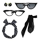 1950 style clothing - Retro 1950s Polka Dot Style Scarf Glasses Headband and Earrings Costume Accessories Set