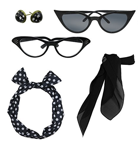 Retro 1950s Polka Dot Style Scarf Glasses Headband and Earrings Costume Accessories - 1950 Fashion Women