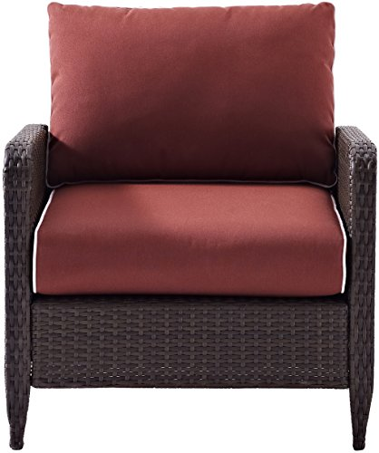 Crosley Furniture Kiawah Outdoor Wicker Arm Chair with Sangria Cushions - Brown - High Quality Reed Style Flat Wicker UV Resistant Outdoor Resin Wicker Durable Steel Frame - patio-furniture, patio-chairs, patio - 51A%2Bb7JCTeL -
