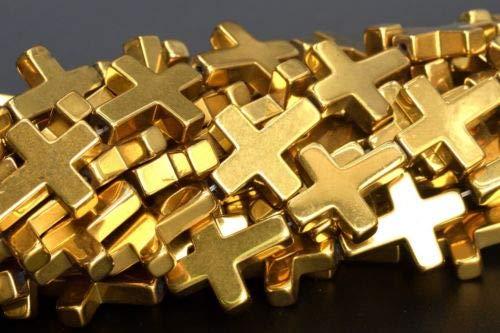 17x14mm Gold Hematite Cross Grade Natural Gemstone Loose Beads 16'' Crafting Key Chain Bracelet Necklace Jewelry Accessories - Hematite Rhinestone Cross