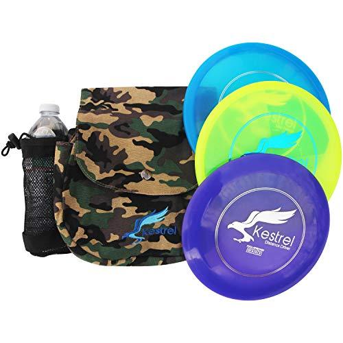 Kestrel Discs Golf Pro Set | 3 Disc Pro Pack Bundle + Green Camo Bag | Disc Golf Set | Includes Distance Driver, Mid-Range and Putter | Small Disc Golf Bag (Green Camo)