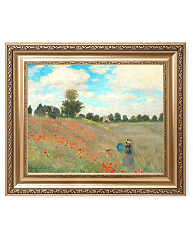 DECORARTS Poppies at Argenteuil, 1873, Claude Monet Art Reproduction. Giclee Print& Museum Quality Framed Art for Wall Decor.Framed size: (Argenteuil Framed)