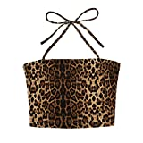 Yezijin_Women's Wear Blouses for Women Fashion 2019,Women Strappy Leopard Sexy Vest Tops Backless Cami Party Blouse Camisole Brown