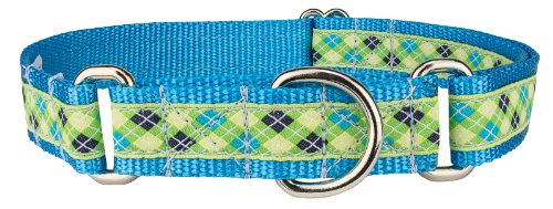 Country Brook Design Lime Green and Blue Argyle Woven Ribbon Martingale Dog Collar Limited Edition - Large
