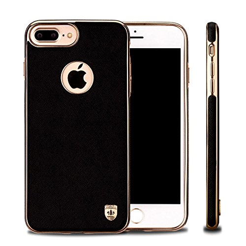 iPhone 7 Plus Case, Phone Case iPhone 7 Plus Cases Luxury Leather Protective Cover Defender Bumper Rugged Cover, Magnetic Electroplate Rubber Slim Cell Phone Case iPhone 7 Plus - BLACK