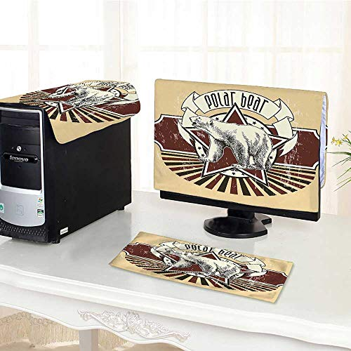 Auraisehome Computer dust Cover Retro Polar Bear Label with Bold Stripes Artwork Image Peach White Black and dust Cover 3 Pieces Set /21