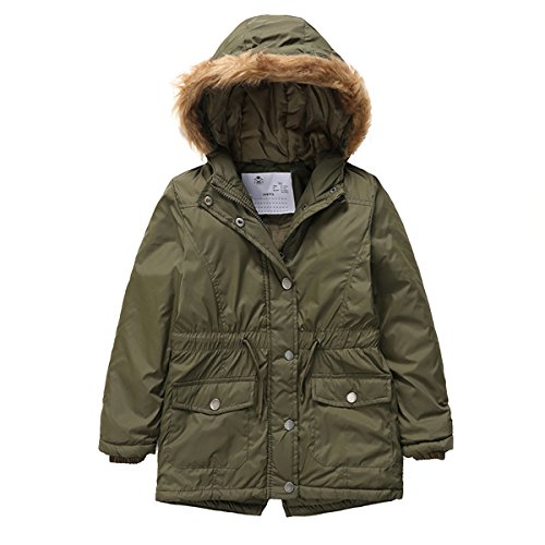 - PHIBEE Girls' Cotton Winter Windproof Faux Fur Hooded Parka Jacket Army Green 8