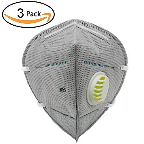 8 opinioni per BXT Confezione da 3 maschere antipolvere per viso e bocca, in cotone e carbone
