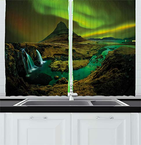 Ambesonne Aurora Borealis Kitchen Curtains, Pale Weather Ove