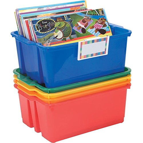(Really Good Stuff Stackable Plastic Book and Organizer Bins for Classroom or Home Use - Universal Label Holder - Sturdy Plastic Baskets in Fun Primary Colors for Convenient Storage and More (Set of 5))