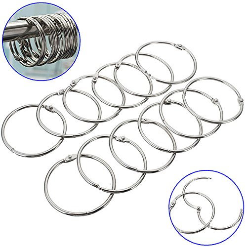 Shower Curtains & Rods - 12pcs Stainless Steel Circle Shower Curtain Hook Bath Curtain Glide (Round Tension Set Earrings)