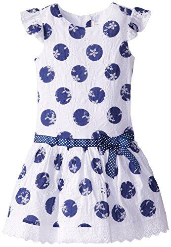 Youngland Little Girls' Polka Dot Printed Eyelet Drop Waist Dress, White/Blue, 6X