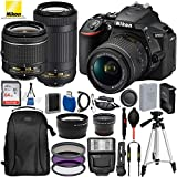 Nikon D5600 DSLR Camera with 18-55mm and 70-300mm Lenses and 15PC Accessory Bundle - Includes SanDisk Ultra 64GB SDHC Memory Card + Digital Slave Flash + 3PC Filter Kit + 50