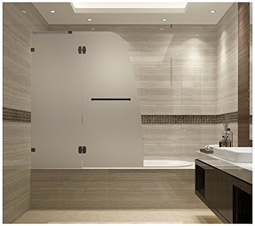 "Aston Soleil 48"" x 58"" Completely Frameless Hinged Tub-Height Shower Door in Frosted Glass, Oil Rubbed Bronze"