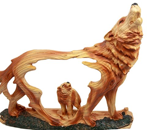 Atlantic Collectibles Wildlife Woodlands Scene Blood Moon Howling Gray Alpha Wolf Figurine In Faux Wood Finish by Atlantic (Image #3)