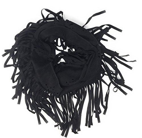 Cut Scarf - Nickannys Infinity Faux Suede Laser Cut Tassel Fringe Stretchy Scarf Shawl (Black)