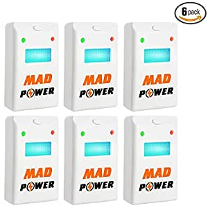 [NEW 2018] Pest Repeller - BEST Control 6-Pack with TRIPLE Power [Ultrasonic + Electromagnetic + Nightlight] - Plug-In Electronic Home Repellent Anti Mice, Ant, Roach, Mosquito, Outdoor/Indoor