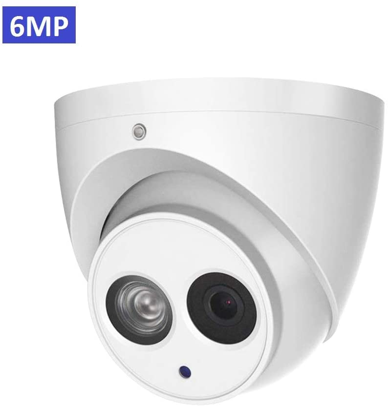 6MP Outdoor PoE IP Camera IPC-HDW4631C-A 3.6mm, Dome Security Camera with Audio, Built-in Mic, IR 164ft Night Vision, Smart H.265 WDR, IVS, IP67, International Version