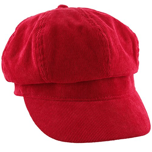 moonsix Newsboy Hat,Plain Cabbie Visor Beret Gatsby Ivy Caps for Women,Red(Corduroy) -