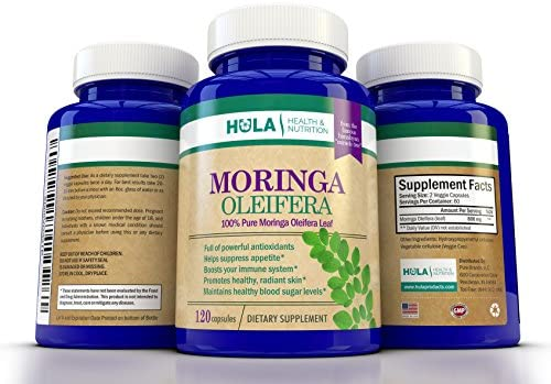 Pure Moringa Oleifera Leaf from the Miracle Tree of the Himalayas – 120 Veggie Capsules – Nature s Multivitamin – Packed w Nutrients and Antioxidants – Full Month s Supply of 1,600mg Per Day