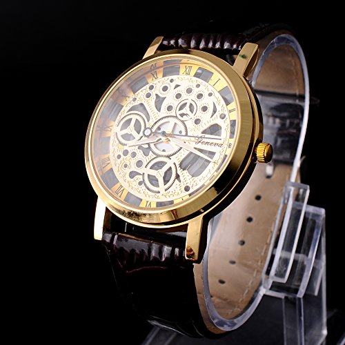 skeleton-men-women-brown-leather-band-stainless-steel-gold-wrist-watch-new