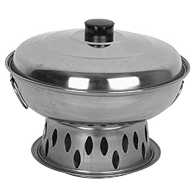 """Alcohol Wok Set stainless steel woks w/ stand w/ handles & lid warms food meals Asian tableware restaurant (26 cm 10"""")"""