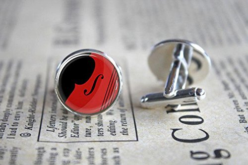 Vintage Double Bass Graphic Design Photo Glass Cuff Links-Silver Round Music Cufflinks for Men Women-Handmade Musician Boyfriend Wedding Christmas Gift ()