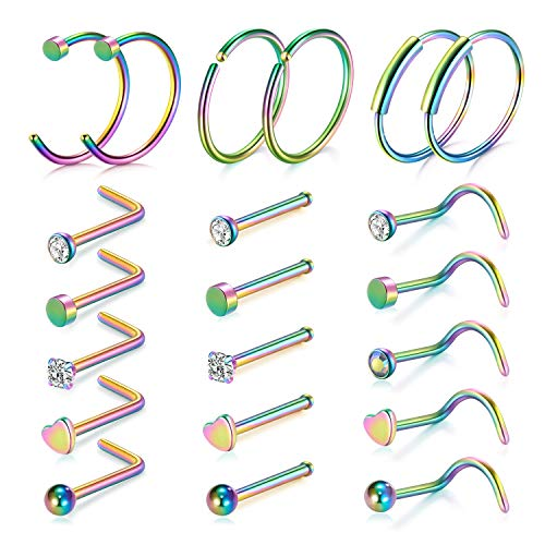 D.Bella 20G Nose Ring Hoop 21pcs Nose Rings Studs Piercings Hoop Jewelry Stainless Steel Nose Rings Rainbow