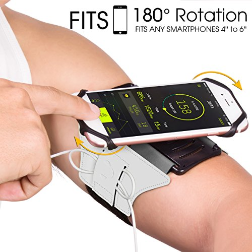 VUP Cell Phone Armband for Workout Biking Walking for iPhone X 8 Plus 8 7 Plus 7 6 Plus 6 6S, Galaxy S8 S7 S5, Google Pixel, Adjustable Reflective Band - Case Movement Silver