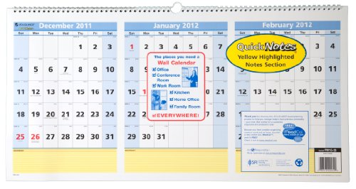UPC 038576224520, AT-A-GLANCE QuickNotes Recycled Three-Month Horizontal Wall Calendar, Large Wall, 2012 (PM15-28)