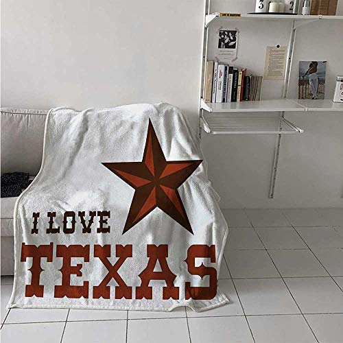 maisi Texas Star Digital Printing Blanket Western Culture Motifs with a Quote About Southwest of United States Summer Quilt Comforter 62x60 Inch Dark Brown and Brown