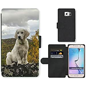 Hot Style Cell Phone Card Slot PU Leather Wallet Case // M99999870 Dog Puppy Pattern // Samsung Galaxy S6 (Not Fits S6 EDGE)