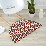 Abstract Semicircular Cushion Dots Circles Entangled Lines Curvy Wavy Retro Style Mixed Grid Like Composition Entry Door Mat H 47.2'' xD 70.8'' Multicolor