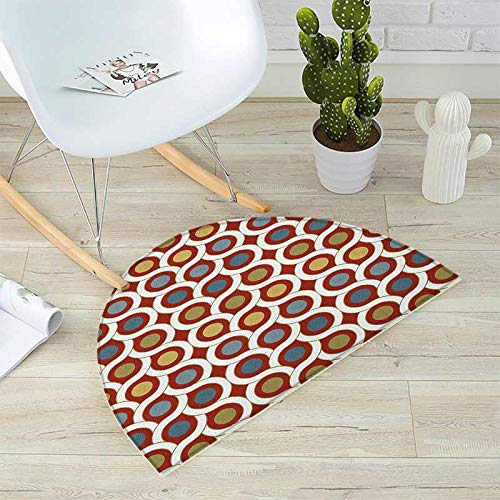 Abstract Semicircular Cushion Dots Circles Entangled Lines Curvy Wavy Retro Style Mixed Grid Like Composition Entry Door Mat H 47.2'' xD 70.8'' Multicolor by homehot (Image #4)