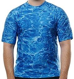 Aqua Design Men Loose Fit Rash Guard Surf Swim Sun Protection Clothing Rashguard, Royal Ripple, XL