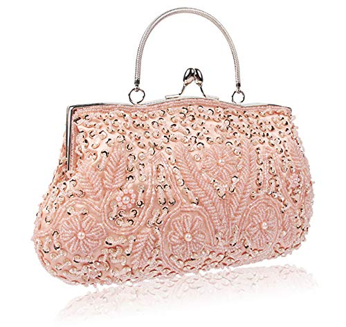 Champagne Ladies Tote Shoulder 26cm Made Polyester Handbag Bag of Women Beads 4 Bag Satin for 30 EDLUX with Claret OwgnUq6xaY