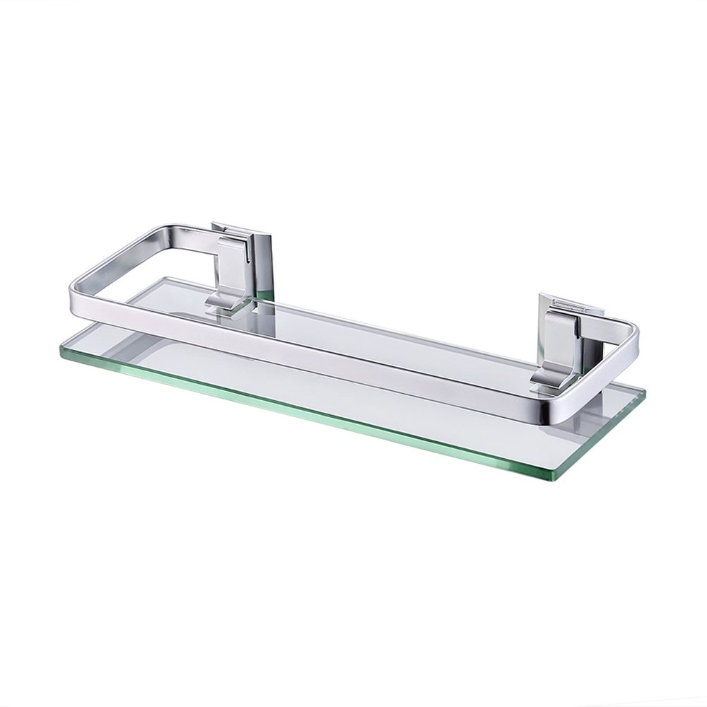 KES Aluminum Bathroom Glass Rectangular Shelf Wall Mounted Tempered Glass Extra Thick, Silver Sand Sprayed, A4126A