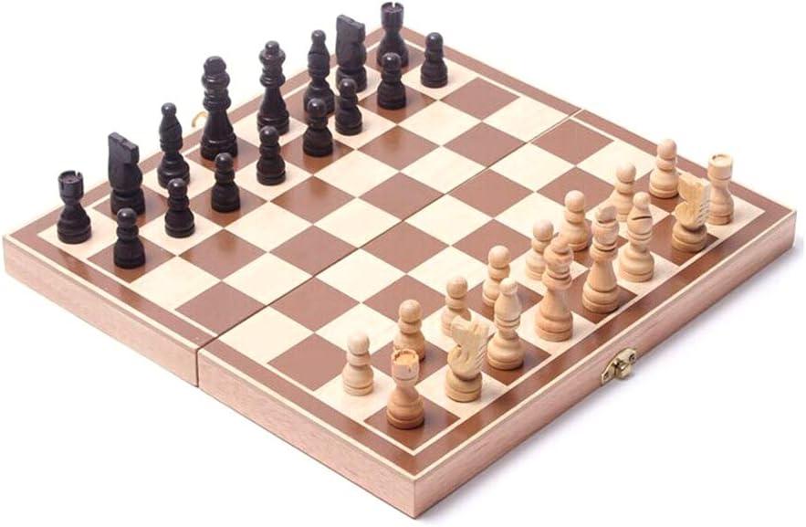 3-in-1-Holzschach Schachspiel Schachspiel Backgammon Draugh