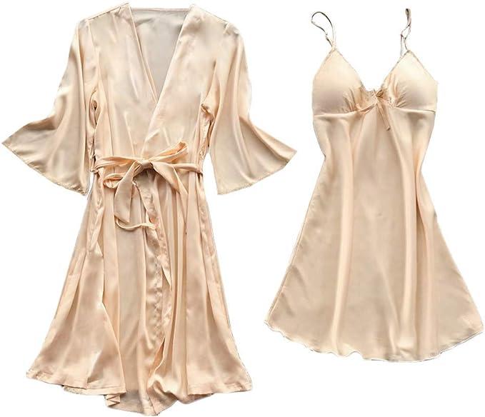 2 Piezas Camisón Sexy Mujer Conjunto de Lencería Encaje - Elegante Ropa de Dormir Flor Ropa Interior Camisón Vestido y Batas: Amazon.es: Ropa y accesorios