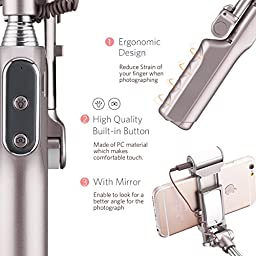 Mpow Selfie Stick with Bluetooth Built-in Remote Shutter,Adjustable Head,Fill Light,Fits for iPhone 7 Plus