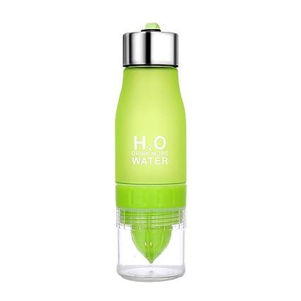Botella de agua portátil exprimidor jugo Limón Fruta Infusor Taza de salud (Verde)