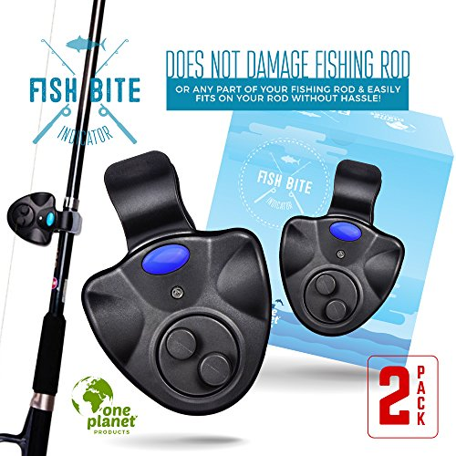 Fish Bite Sound Alarm (2 Pack) - Clip On Detector LED Alert - Electronic Fishing Indicator Kit - Fisherman Equipment & Supplies