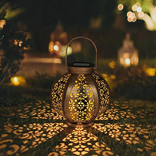 Petrala Solar Lantern Outdoor Decorative Metal Retro Hanging Lanterns Lights 7 lumens Copper Brown with Handle for Garden Patio Christmas