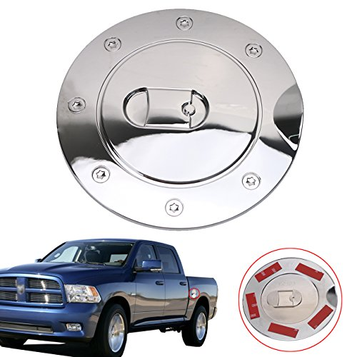Half Tank Cover (Triple Chrome Plated Fuel Tank cap Gas Door Cover for Dodge Ram 1500/2500/3500 2009-2017)