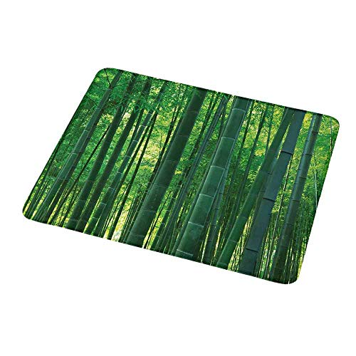 Natural Rubber Mouse Pad Bamboo,Asian Oriental Exotic Bamboo Trees in The Rainforest Horizontal Jungle Stalk Nature View,Green,Standard Size Rectangle Non-Slip Rubber Mousepad 9.8