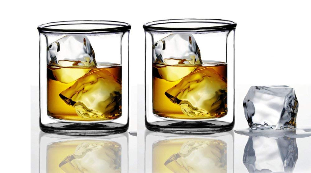 Strong | Double-Wall Insulated Tumbler Set by Sun's Tea (Tm) | 9oz | Double Rocks Glass Old Fashioned Whiskey Glasses - (set of 2) Borocilicate Drinking Glasses by Sun's Tea