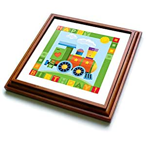 COMBINED INTERPRISES - KIDS TRANSPORT - CUTE BIRTHDAY TRAIN WITH THE HEART - Trivets - 8x8 Trivet with 6x6 ceramic tile - trv_200549_1