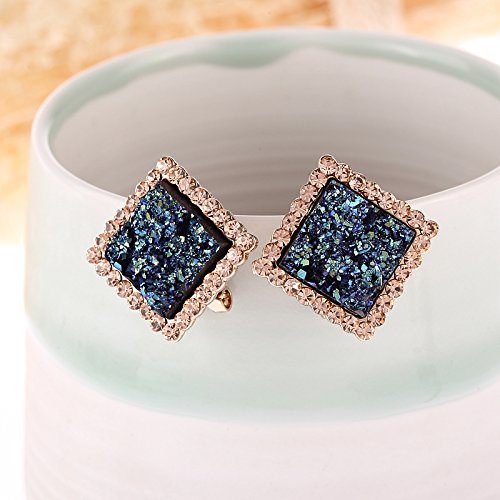 Unique Creative Fashion Luxury Blue Diamond Earrings earings Dangler Eardrop Jewelry Box Earring Women Girls Hypoallergenic Trend by KGELE Earrings