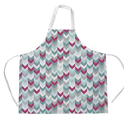 Chevron 3D Printed Cotton Linen Apron,Symmetric Stripes in Gradient Tone Arrows Classic Vintage Graphic,for Cooking Baking Gardening,Turquoise Light Grey Magenta ()